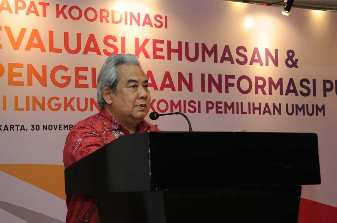 Sambutan Pejabat Pengelola Informasi dan Dokumentasi KPU RI dalam Evaluasi PPID Tahun 2018